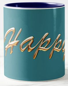 """This is the second in my new series of """"Power Words"""" on Coffee Mugs. It's a cliche that everyone seeks happiness. What a good idea! My life-mantra has just four Power Words: """"Happy, Healthy, Wise, Wealthy."""" Famous Japanese Dr. Masaru Emoto taught that the vibrations of the word are absorbed by the water in the drink in the mug. So we are literally drinking in """"Happiness"""" when we enjoy our morning coffee!"""