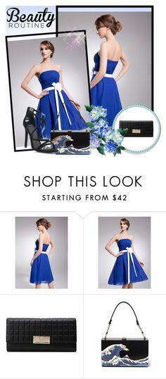 """Royal Blue A Line Strapless Knee Length Princess Chiffon Homecoming Dress Ruffle Sash Flowers HD000273"" by harrydress on Polyvore"
