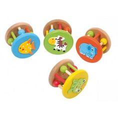 Set van 4. Mooi geschilderde #dieren #ratels. Met kleine belletjes en verschuifbare ballen. De ratels zijn voorzien van gekleurde dieren afbeeldingen. #speelgoed