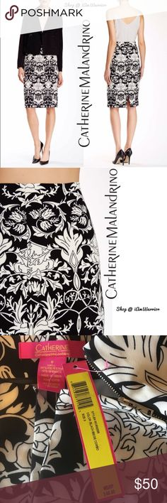 Catherine Malandrino black/white print skirt Gorgeous NWT Catherine Malandrino pencil skirt is so sleek with it's modern black and white print. With 10% spandex, it fits the body perfectly! If this is your first time shopping my closet, please read my 'about me and my closet listing' prior any inquiries. Price is firm unless bundled. 🆕 Catherine Malandrino Skirts Midi