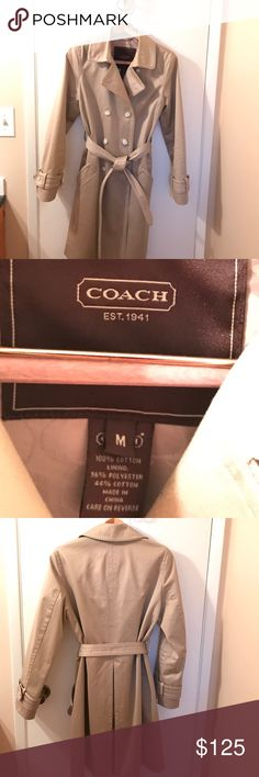 🌸 Beautiful Coach trench coat! Khaki Coach trench coat - both sexy and professional!  In excellent condition - no damage or stains - it is just a little too tight in the chest for me. Coach Jackets & Coats Trench Coats