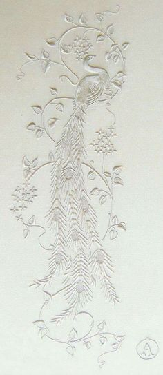 I love peacocks so much, and white on white embroidery best. Gorgeous white on white hand embroidery Japanese Embroidery, White Embroidery, Ribbon Embroidery, Beaded Embroidery, Embroidery Stitches, Machine Embroidery, Embroidery Designs, Embroidery Patterns Free, Art Du Fil