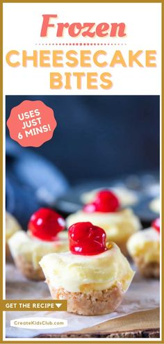 Learn how to make frozen cheesecake bites using just 6 ingredients. A no-bake cherry cheesecake made with a simple homemade Nila Wafer crust - enjoyed frozen or thawed. They store great in a ziplock bag for a bite-sized treat when you're craving cheesecake! Frozen Cheesecake, Easy No Bake Cheesecake, Homemade Cheesecake, Cheesecake Bites, Cold Desserts, Great Desserts, Delicious Desserts, Dessert Recipes, Yummy Food