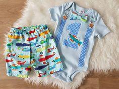 Größe 1 jungen Geburtstag / erster Geburtstag / Kuchen Smash Outfit - Shorts und Strampler Set mit Fliege - Flugzeuge, blau, junge