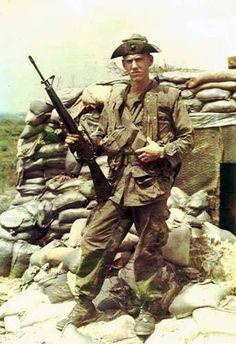 U.S. Marine at Vandegrift Combat Base, 1969.