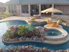 32 Fascinating Lazy River Pool Ideas That Should You Make In Home Backyard, Basically, you've got to specify the type of pool you need and its usage. The pool will surely increase the ambiance of the backyard. You probably req. Pool Spa, Swimming Pools Backyard, Swimming Pool Designs, Pool Landscaping, Lap Pools, Indoor Pools, Pool Decks, Kayak Pools, Kiddie Pool