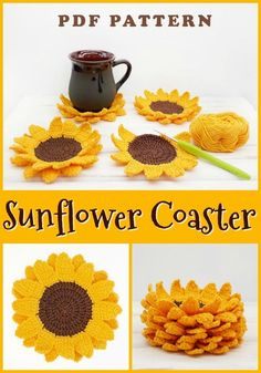 Crochet projects 507217976783766826 - Sunflower coaster crochet pattern Source by Crochet Coaster Pattern, Crochet Flower Patterns, Afghan Crochet Patterns, Crochet Flowers, Crochet Sunflower, Sunflower Pattern, Crochet Gifts, Diy Crochet, Crochet Ideas