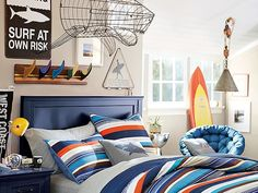 I love the PBteen Bondi Stripe Bedroom on pbteen.com