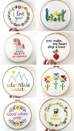 These are beautiful cross stitch patterns from Leia Patterns. These are elegant and modern cross stitch designs that are meant to be easy and exciting to stitch. Some of our most popular patterns include unicorn patterns, cactus cross stitch, and cross stitch quotes and sayings such as Adventure Awaits and I Love You. You can find all of these patterns at LeiaPatterns.com. Get $5 off your order at Leia Patterns when you join our email club!