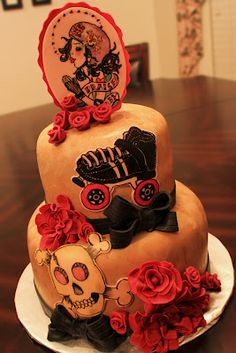 Layers of Love: Roller Derby Girl Birthday Cake