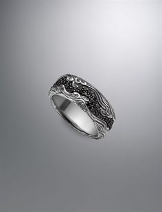 David Yurman Waves Band ring for men: black diamonds, silver