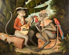 William Skilling Painting On Canvas of Monkeys from piatik on Rubylane.com