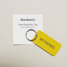 Mithered Keyring Hotel Style Keytag Keyfob in by TheManchesterBee