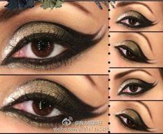 Double flick Arabic eye makeup look, Gotta practice this one! Punk Makeup, Hair Makeup, Makeup Tips, Beauty Makeup, Makeup Style, Makeup Ideas, Beauty Tips, Belly Dance Makeup, Bombshell Makeup