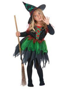 Disfraz de bruja del bosque para niña Halloween: Este disfraz de bruja del bosque para niña incluye un vestido y un sombrero a juego (escoba y botas no incluidas).La parte superior del vestido es de imitación de terciopelo con un...
