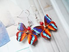 Adorable butterfly earrings with wood and sterling silver hooks, Selma Dreams, nature inspired jewellery, jewelry gifts for her by SelmaDreams on Etsy