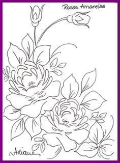 1risco para pintura em tecido -ROSAS AMARELAS