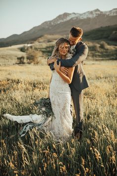 Hannah + Austin's outdoor golden-hour portraits are the best part of our week. Check out our blog post on this lovely Allure bride and her husband! . . gown: Allure style M570 | photo: @kelsieemmphoto #allurebridals #realbride #outdoorbride #outdoorwedding #sunset #bohobride #boho #weddingwednesday #allure #bridal #weddingdress