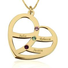 Personalized 24k Gold Plated Engraved Name and Birthstone Heart Mother Necklace