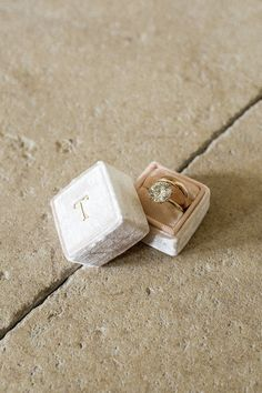 My engagement ring was a custom design by Shaesby in Austin. It's pictured here in my sweet pale pink Mrs. Box.