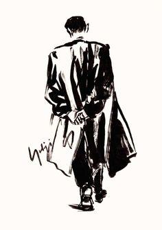 Yohji Yamamoto My Dear Bomb illustration Illustration Sketches, Graphic Design Illustration, Art Sketches, Y 3 Yohji Yamamoto, Fashion Images, Fashion Art, Fashion Sketches, Drawings, Sketching