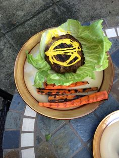 I always look forward to our weekly stuffed burgers! Two red for the meat, one blue for the cheddar inside, one green for the lettuce bun and one green for the carrots!