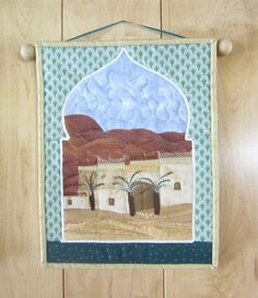 Mini Quilted Wallhanging Fiber Art  Village in by ISewTotes