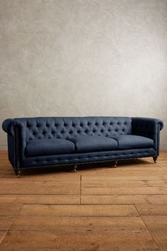 Linen Grand Lyre Chesterfield Sofa