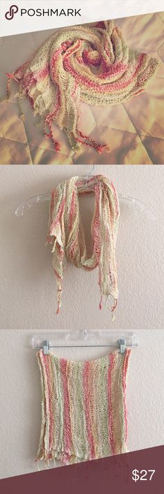"""Loose Weave Summer Scarf Ivory, yellow, green and hot pink striped loose weave raw linen scarf with tassels on ends. Handmade. Last pic is 1/4 of full size. 60""""x12"""" Accessories Scarves & Wraps"""