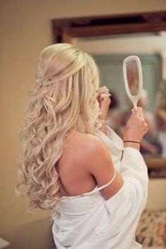55 Trendy Wedding Hairstyles Updo For Short Hair Makeup Wedding Hairstyles Half Up Half Down, Wedding Hair Down, Wedding Hairstyles For Long Hair, Wedding Hair And Makeup, Down Hairstyles, Trendy Hairstyles, Bridesmaids Hairstyles, Bridal Hairstyles, Bridesmaid Dresses