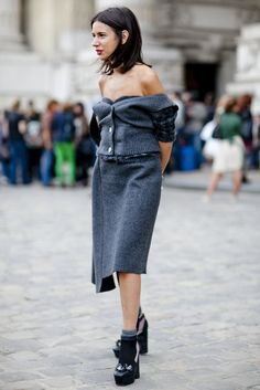 A sexier way to wear your cardigan. | Très Chic! The Best Street Snaps at Paris Fashion Week | POPSUGAR Fashion