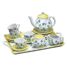Yellow Pokadots 16pc Children's Set - Girls Childrens Tea Cups Sets - Roses And Teacups