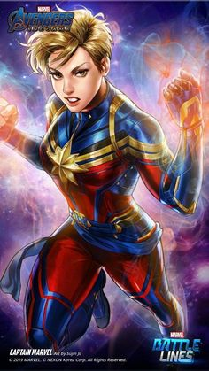 marvel's game battle lines Marvel Girls, Comics Girls, Marvel Comics Art, Marvel Avengers, Marvel Heroines, Captain Marvel Carol Danvers, Super Anime, Marvel Drawings, Culture Pop