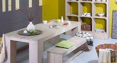 Eettafel van steigerhout volgens de bouwinstructies van Praxis