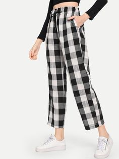 Casual Plaid Wide Leg Loose Drawstring Waist Mid Waist Black and White Crop Length Plaid Drawstring Waist Pants Plaid Pants, Jeans Pants, Leggings Are Not Pants, Trousers, Pants Outfit, Dress Pants, Cool Outfits, Fashion Outfits, Type Of Pants
