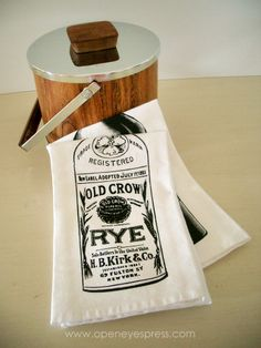 Rye Whiskey handprinted napkin by Open Eyes Press | Part of Handmade Arcade 2013 in Pittsburgh, PA | http://www.handmadearcade.com/