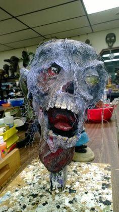 Paper mache zombie head