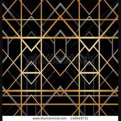 Art deco vector geometric pattern in bright yellow