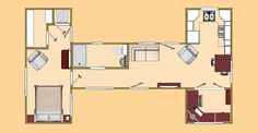 Container House - The Big H floor plan. A 480 sq ft shipping container design. - Who Else Wants Simple Step-By-Step Plans To Design And Build A Container Home From Scratch? Tiny Container House, Container Homes For Sale, Building A Container Home, Storage Container Homes, Container Design, 40ft Container, Container Buildings, Cargo Container, Shipping Container Home Designs