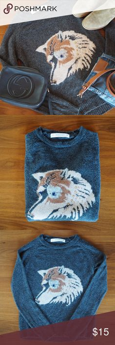 Zara Wolf Sweater Size S Zara Knit 80% Wool 20% Nylon. Wolf design includes metal studs. Worn and hand washed once. Excellent Condition! Zara Sweaters
