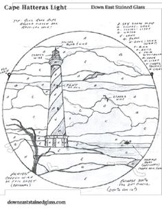Hatteras Lighthouse Stained Glass                         Pattern