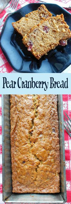 Pear Cranberry Bread Dump Cake Recipes, Pear Recipes, Cranberry Recipes, Banana Bread Recipes, Baking Recipes, Sweet Recipes, Dessert Recipes, Recipe Using Dried Cranberries, Dried Pears
