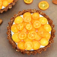 Kumquat date almond breakfast tart. Made this.  It was wonderful.  I used cold, thickened coconut milk and vanilla beans blended with strained yogurt for the filling.  Lovely with the kumquats.  Mmmmmmm