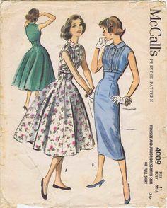 1950s Slim or Full Skirt Dress Womens 50s McCalls by patternshop