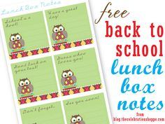 FREE back to school owl lunch box notes from blog.thecelebrationshoppe.com ~ Enjoy!