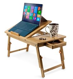 Aleratec Natural Bamboo Adjustable Laptop Stand Up to 15in Folding Bed Table