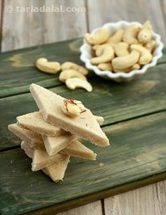 The cooked cashew and sugar mixture when moulded into dainty shapes make an…