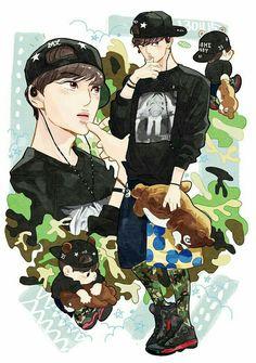 Exo Anime, Anime Art, Exo Cartoon, Kai Arts, Kai Exo, Exo Fan Art, Kpop Fanart, Webtoon, Chibi