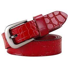 ECHT Damen Gürtel Rot Gürtel Gürtel Glitzer Vintage Red Style Belt 4 cm NEU