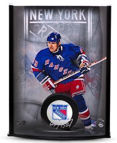 WAYNE GRETZKY Signed Rangers Puck Curve Display UDA LE 99 - Game Day Legends